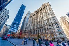 纽约,纽约- 2013年12月27日:与纽约的都市风景 曼哈顿 库存照片