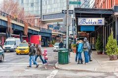 纽约,纽约- 2013年12月30日:生产线上限入口在纽约,曼哈顿 免版税库存照片
