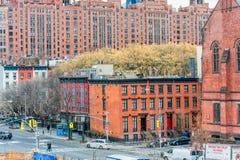 纽约,纽约- 2013年12月30日:街道在纽约,曼哈顿 都市风景 免版税库存图片