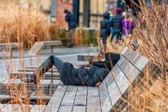 纽约,纽约- 2013年12月30日:躺下在生产线上限道路的长凳的妇女在纽约,曼哈顿 库存图片