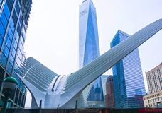 纽约,美利坚合众国- 5月01,2016 :Oculus在世界贸易中心运输插孔 库存图片