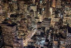 纽约,美国明亮的城市光  免版税库存图片