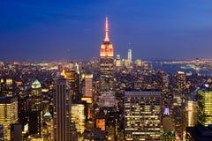 纽约,美国晚上视图  库存图片
