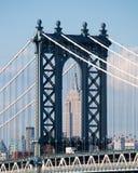 纽约,美国:地平线、摩天大楼从布鲁克林大桥观看的曼哈顿2014年9月16日的桥梁和帝国大厦 免版税库存图片