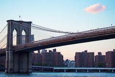 纽约,美国:布鲁克林大桥一个偶象看法2014年9月16日的 图库摄影