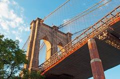 纽约,美国:布鲁克林大桥一个偶象看法2014年9月16日的 库存图片