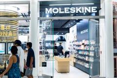 纽约,美国- 2018年8月:官员Moleskine商店在Oculus购物中心,纽约 Moleskine是意大利人 免版税库存图片