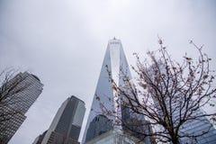 纽约,美国- 2018年3月30日:在世界tra的现代大厦 免版税图库摄影