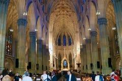 纽约,美国- 2018年8月28日:天主教圣巴特利爵主教座堂,纽约 免版税库存照片