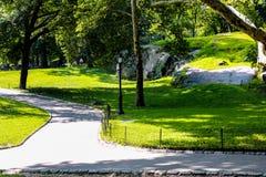 纽约,美国- 2018年8月31日:风景设计在巴特里公园,纽约 夏天,树荫,探险 免版税库存图片