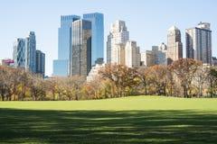 纽约,美国- 11月23日:与中央公园的曼哈顿地平线 图库摄影