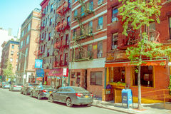纽约,美国- 2017年5月05日:曼哈顿纽约和明确地Litle意大利地区街道在纽约美国 免版税图库摄影
