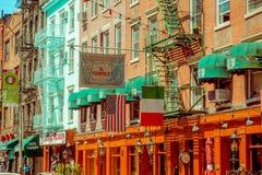 纽约,美国- 2017年5月05日:曼哈顿纽约和明确地Litle意大利地区街道在纽约美国 库存图片
