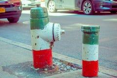 纽约,美国- 2017年5月05日:曼哈顿纽约和明确地Litle意大利地区街道有消防栓的 库存照片