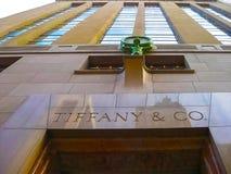 纽约,美国- 2013年2月13日:蒂凡尼和Co 在华尔街的大厦在NYC的财政区 图库摄影