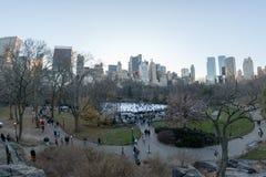纽约,美国- 2011年12月11日-滑冰在中央公园的人们拥挤了xmas的人 免版税库存图片