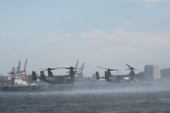 纽约,美国7月5日2015年:MV-22白鹭的羽毛 海洋直升机分谴舰队一(HMX-1 库存图片