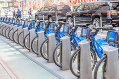 纽约,美国2014年5月20日 Citi自行车自行车租务新 免版税库存图片