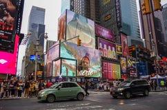 纽约,美国- 7月21,2014 :时代广场晚上我 库存图片