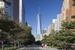 纽约,美国-自由塔在更低的曼哈顿 库存照片