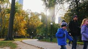 纽约,美国- OKT, 2016年:走沿胡同的人们在NYC的中央公园 太阳在摩天大楼后得到