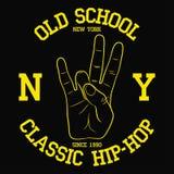 纽约,设计的NY节律唱诵的音乐印刷术穿衣, T恤杉 与东海岸手势的印刷品 服装的图表 向量 图库摄影