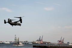 纽约, - 2015年7月5日白鹭的羽毛 海洋直升机分谴舰队一 免版税库存照片