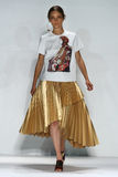 纽约, NY - 9月05日:式样Iekeliene斯唐厄步行齐默尔曼时装表演的跑道 免版税库存图片