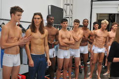 纽约, NY - 9月06日:模型摆在后台在Parke & Ronen春天2014时装表演 免版税库存照片