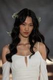 纽约, NY - 6月16日:模型走跑道在克莱尔Pettibone春天2015新娘汇集展示 免版税库存图片