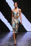 纽约, NY - 9月08日:模型走跑道在唐娜Karan春天2015时装表演 库存图片