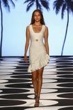 纽约, NY - 9月05日:模型走跑道在尼科尔米勒春天2015时装表演 免版税库存照片