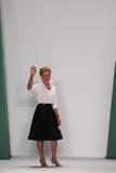 纽约, NY - 9月08日:设计师卡罗来纳州赫雷拉步行卡罗来纳州赫雷拉时装表演的跑道 免版税库存照片