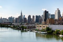 纽约, NY/美国- 2018年6月01日:曼哈顿中间地区地平线视图 免版税图库摄影