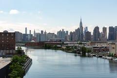纽约, NY/美国- 2018年6月01日:曼哈顿中间地区地平线视图 免版税库存图片