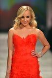 纽约, NY - 2月06日: Nastia佩带Reem Acra结构的Liukin跑道在重点真相的红色礼服收藏在秋天期间 库存照片