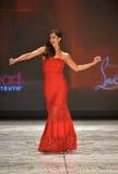 纽约, NY - 2月06日: Roselyn佩带Tadashi扯窗结构的桑切斯跑道在重点真相的红色礼服收集durin 库存图片
