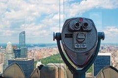 纽约:岩石的曼哈顿地平线、中央公园和上面看法双眼2014年9月16日 库存照片