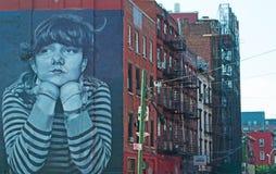 纽约:布鲁克林大厦和壁画2014年9月16日 免版税图库摄影