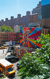 纽约:从生产线上限的壁画2014年9月16日 库存照片