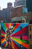 纽约:从生产线上限的壁画2014年9月16日 图库摄影