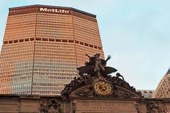 纽约:MetLife大厦和盛大中央终端2014年9月14日 免版税库存照片