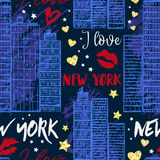 纽约 与摩天大楼、亲吻、心脏和星的无缝的样式 库存例证