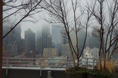 纽约-城市和T冬天有雾的屋顶视图  库存图片
