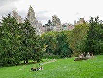 纽约- 2017年9月:中央公园视图在曼哈顿,纽约Ci 免版税库存照片