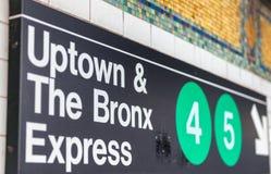 纽约- 2015年10月24日:住宅区和布朗克斯地铁标志 免版税库存图片