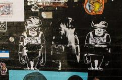 纽约- 2016年9月18日:在街道上的街道画壁画  免版税图库摄影