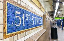 纽约- 2015年10月23日:第51地铁stati内部  免版税库存照片