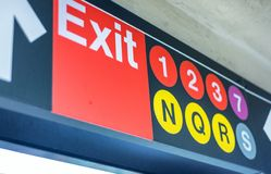 纽约- 2015年10月23日:退出在地铁stati里面的标志 免版税库存照片