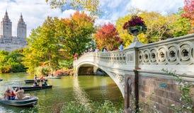 纽约- 2015年10月:人们享用叶片的中央公园 免版税库存图片